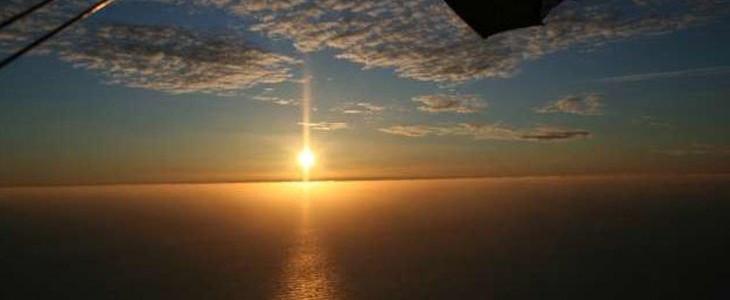 Vol ULM pendulaire coucher du soleil Soulac